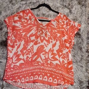 THE LIMITED sheer orange and white v-neck top
